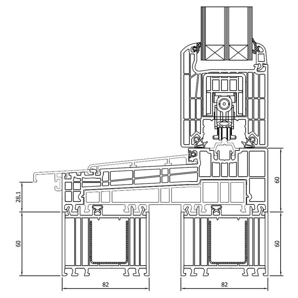 Hervorragend Detailzeichnungen Kunststoff Hebeschiebetür Iglo HS - fensterblick.de IL52