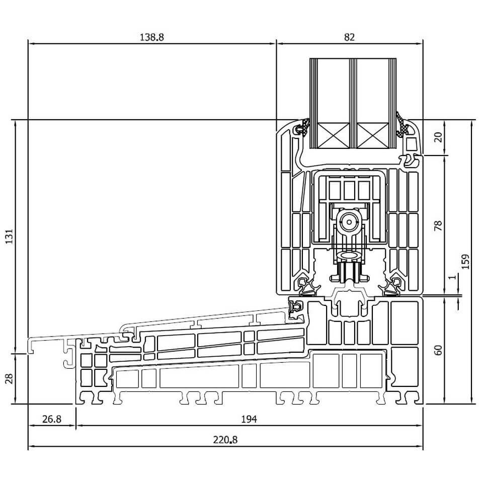 Sehr Detailzeichnungen Kunststoff Hebeschiebetür Iglo HS - fensterblick.de VM07