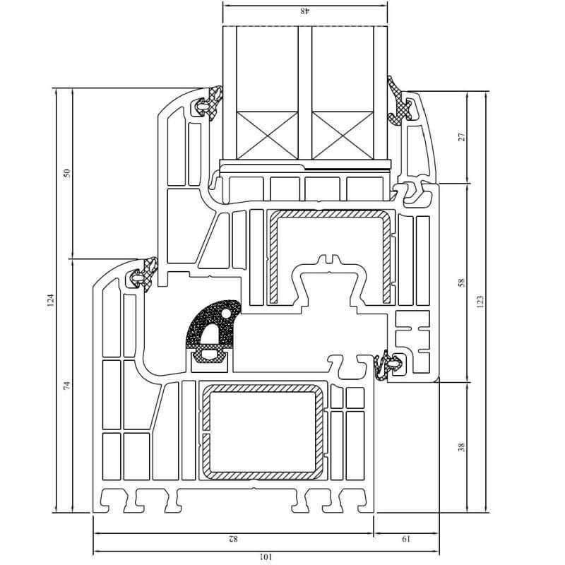 Kunststofffenster detail schnitt  Iglo Energy Fenster - DRUTEX online kaufen - fensterblick.de
