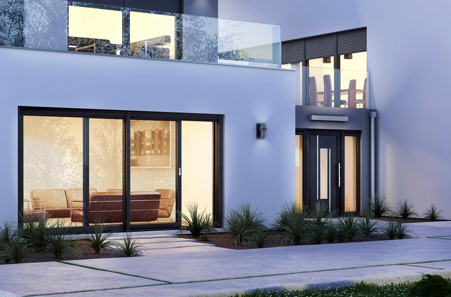 Eingangstr anthrazit great von haustr tr stahltr eingangstr anthrazit rcn with eingangstr - Haus mit anthrazit fenster ...