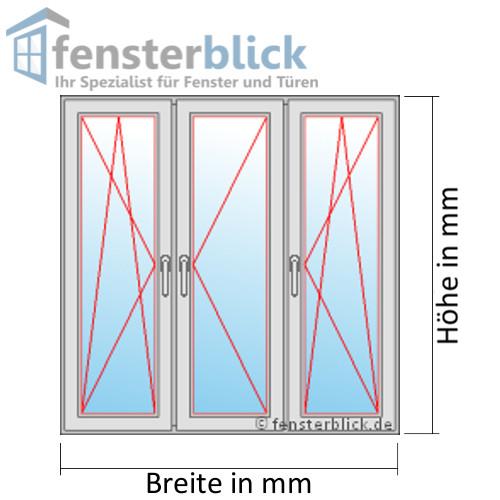 Fenster Brillantblau - 3 flg. Dreh-Kipp/Dreh/Dreh-Kipp Kunststofffenster Kunststofffenster Kunststofffenster 415c14